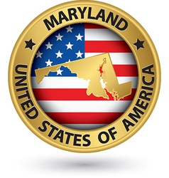 Maryland state gold label with state map vector image vector image
