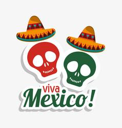 viva mexico skulls hat design vector image