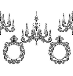 baroque chandelier and mirror frames detailed vector image