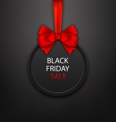 Black Friday Round Frame with Red Ribbon and Bow vector image vector image