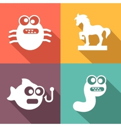 Computer threats icons flat style vector