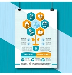 Medical Conference Poster Flat vector image vector image