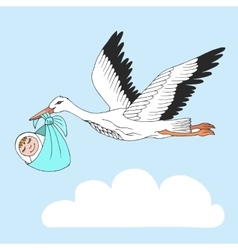 Nice card with stork and baby on blue sky vector image vector image