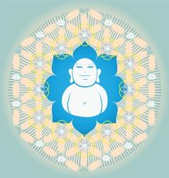 Sacred Geometry flower of life blue lotus vector image vector image