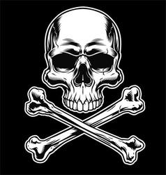 Skull and crossbones on black vector image