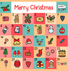 advent calendar with christmas cartoon vector image