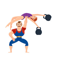 athlete showing exercises holding gymnast girl vector image vector image