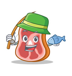 fishing meat character cartoon food vector image