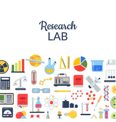 flat style science icons background with vector image vector image