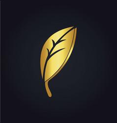 gold leaf organic logo vector image vector image