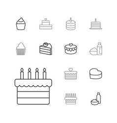 13 cupcake icons vector image