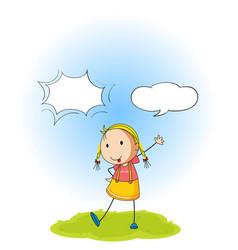 A girl with speech balloon vector