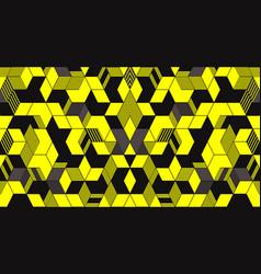 Abstract dark hexagon on yellow background vector