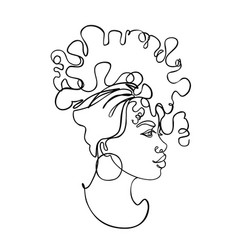 Abstract portrait young african american woman vector