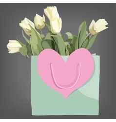 Bag and tulips flowers isolated on the grey vector image