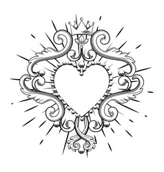 Beautiful ornamental heart with crown in black vector