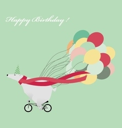 Birthday greeting card with funny white bear vector image