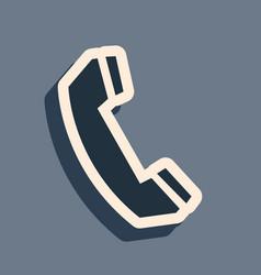 Black telephone handset icon isolated on grey vector
