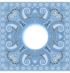 Blue colour floral round pattern in ukrainian vector