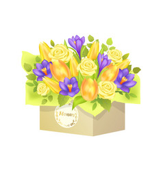 Bouquet of roses and tulip vector