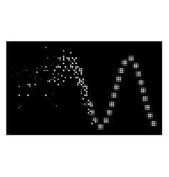 Bright destructed pixel halftone sinusoid icon vector