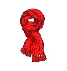 Bright red slip knotted winter knitted scarf with vector