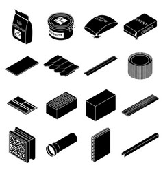 building materials icons set simple style vector image