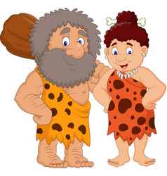 Cartoon prehistoric caveman couple vector