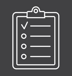 checklist line icon clipboard and note vector image