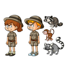 Childen in safari outfit with wild animals vector