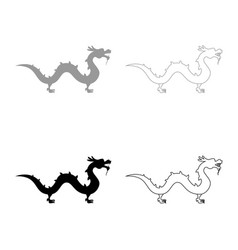 chinese dragon icon set grey black color vector image