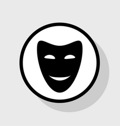 comedy theatrical masks flat black icon vector image