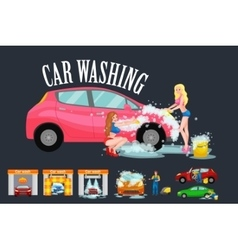 Contactless car washing services bikini model vector