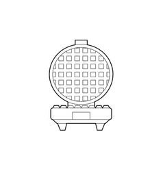 Contour an open waffle iron front vector