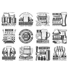 Craft beer pub bar and brewing factory icons vector