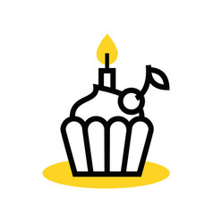 cupcake icon with a candle vector image