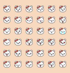 cute bear emotion face in various expession vector image