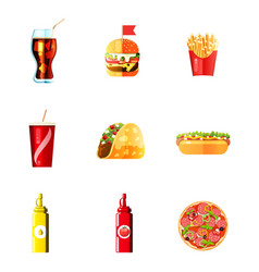 dog french fries soda icons set lunch hot vector image
