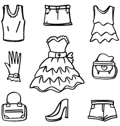 Doodle of women clothes and accessories vector