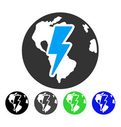 Earth shock flat icon vector
