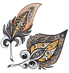Ethnic ornamental plumes vector image