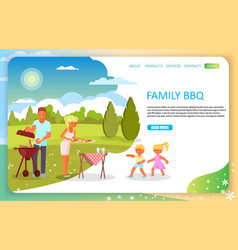 Family bbq landing page website template vector