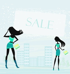 fashion silhouettes girls Shopping in the city vector image