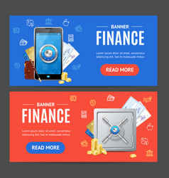finance banner horizontal set vector image vector image