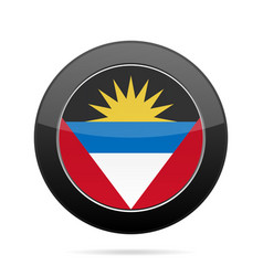 flag of antigua and barbuda black round button vector image