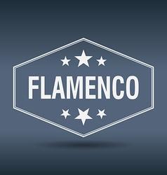 Flamenco hexagonal white vintage retro style label vector
