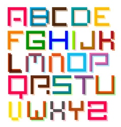 Font Colorful Pixel Retro Digital Alphabet Letters vector image