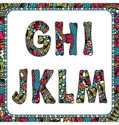 G h i j k l m letters alphabet with ethnic vector