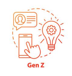 Gen z red concept icon age group idea thin line vector