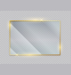 Gold glass transparent banners golden frame with vector